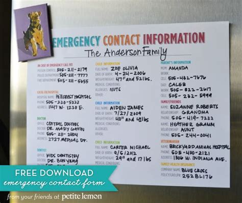 available phone numbers free printable emergency contact information sheet to