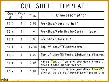 stage lighting cue sheet template fabtemplatez