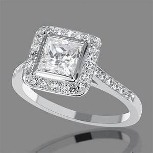 1 Carat D SI1 Diamond Engagement Ring Princess Cut 14K ...