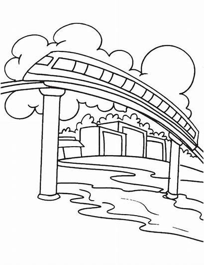 Monorail Coloring Elevated Pages Rail