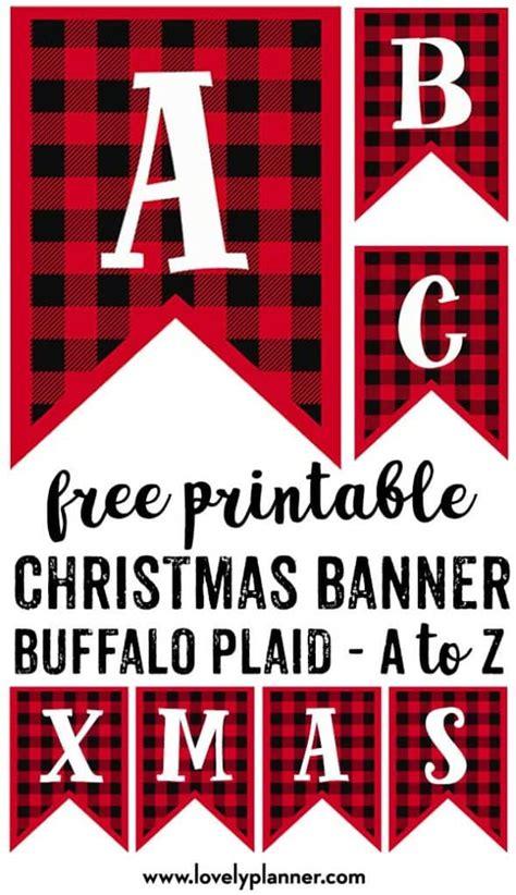 printable buffalo plaid christmas banner letters