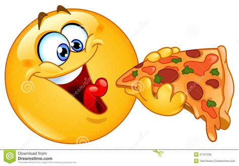 Emoticon Eating Pizza Stock Vector. Illustration Of