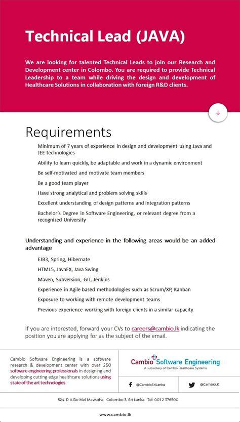 Technical Lead Resume Java by Technical Lead Java Vacancy In Sri Lanka