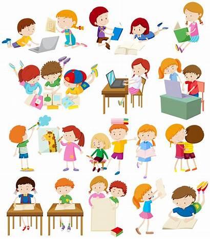 Activities Doing Children Vector Clipart Illustration Activity