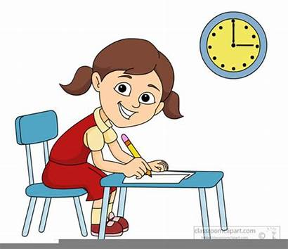 Clipart Desk Student Sitting Learning Clip Distance