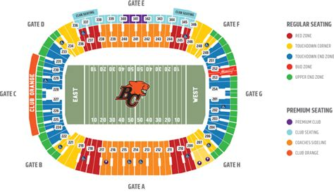 bc place seating chart bc lions