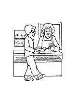 Cafeteria Coloring Worker Pages Printable Community Activities Helpers sketch template