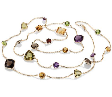 multi gemstone necklace multi gemstone necklace in 14k yellow gold 34