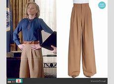 WornOnTV Elizabeth's blue blouse and wide leg pants on