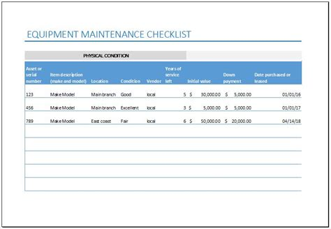equipment maintenance checklist template  excel excel