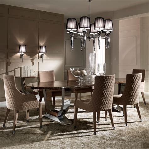 oval high end marble italian dining table set juliettes