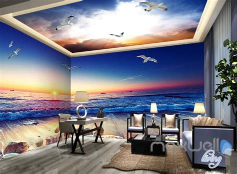 sunrise beach view wave ceiling entire room bedroom
