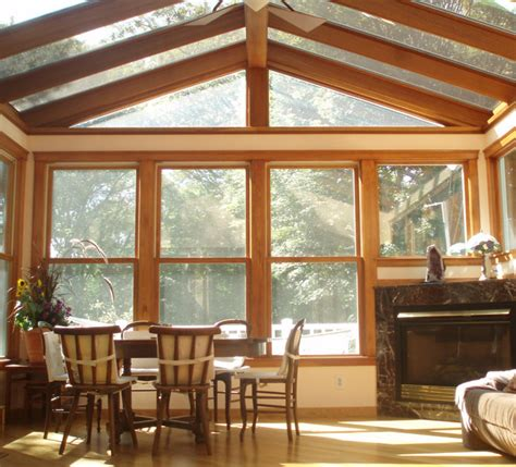 traditional sunroom fireplace wraparound deck newton ma