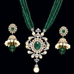 designer jewellery indian jewellery and clothing emerald pendant sets from pc jewellers