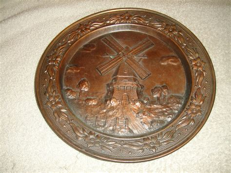 vintage windmill brass metal decorative wall plate heavy plate etched metal ebay