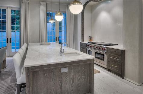 Wire Brushed Oak Cabinets by Gray Wire Brushed Cabinets Transitional Kitchen