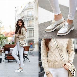 White jeans metallic oxfords casual street style outfit fashion | { As Seen on the Street ...