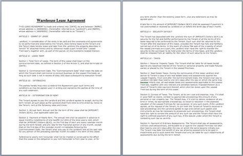 warehouse lease agreement template lease agreement