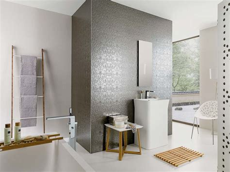 Metallic Bathroom Tiles by Venis Bluebell Silver Textured Metallic Wallpaper Look