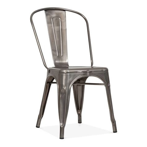 chaise metal tolix tolix style gunmetal steel industrial side chair cult
