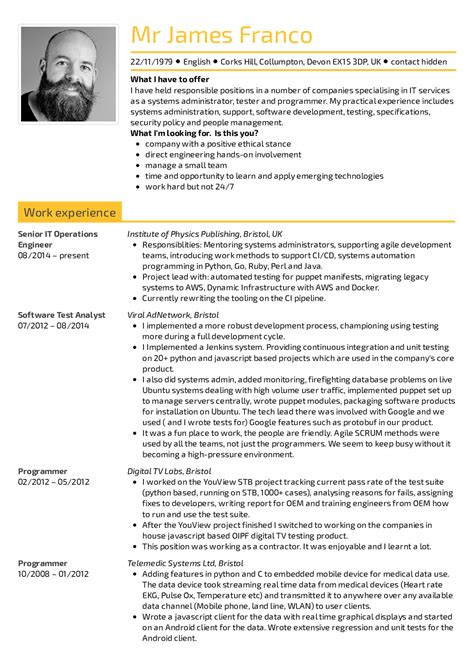 Senior Software Engineer Resume Template by Resume Exles By Real Senior It Operations