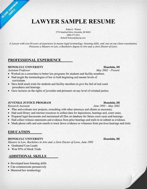 lawyer resume sle resumecompanion resume sles across all industries