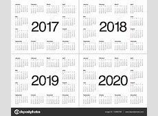 Simples modelo de calendário para 2017 a 2020 — Vetor de
