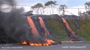 11  12  2014 -- Hawaii Lava Flow Reaches Transfer Station -- Flowing Downhill To Road