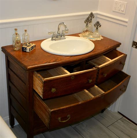 repurposed antique dresser turned   bathroom sink vanity