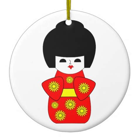 japanese doll double sided ceramic round christmas