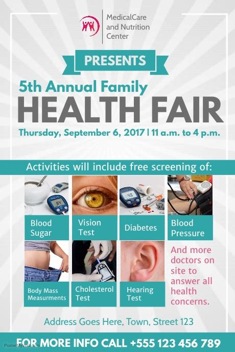grey  green health fair poster template postermywall