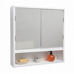 Meuble Avec Miroir : meuble avec miroir double blanc meuble haut eminza ~ Teatrodelosmanantiales.com Idées de Décoration