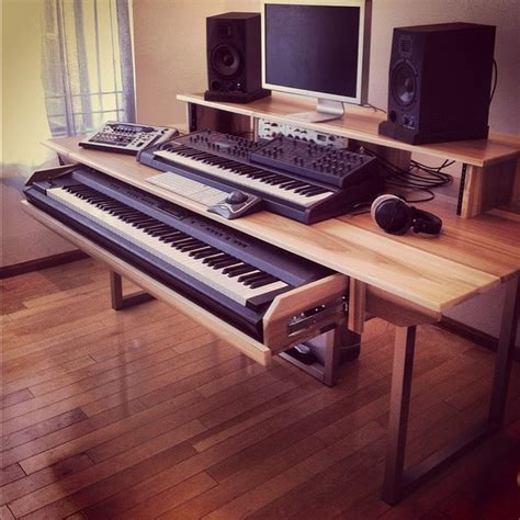 l shaped music studio desk for the music studio love the keyboard drawer nathan