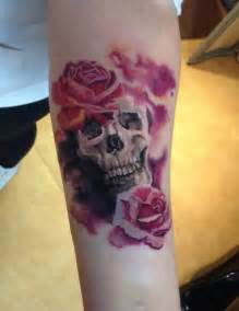 Skull and Roses Tattoo On Forearm