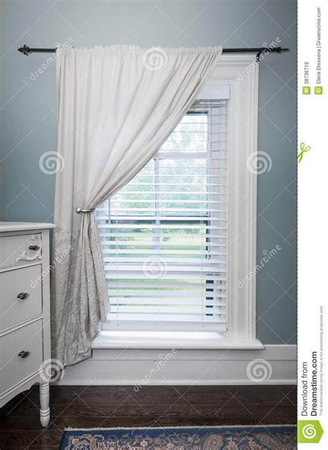 Window Blinds And Curtains by Window With Blinds And Curtain Royalty Free Stock Images