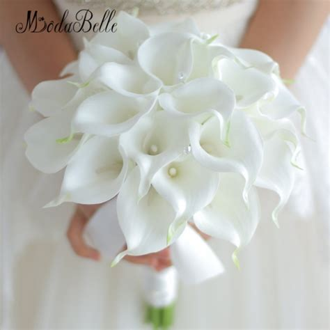 vintage  custom white calla lily bouquet crystal hand