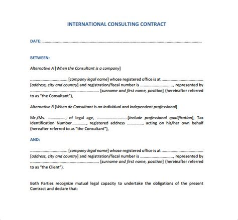 It Consultant Contract Template by Consultant Contract Template 10 Free Documents