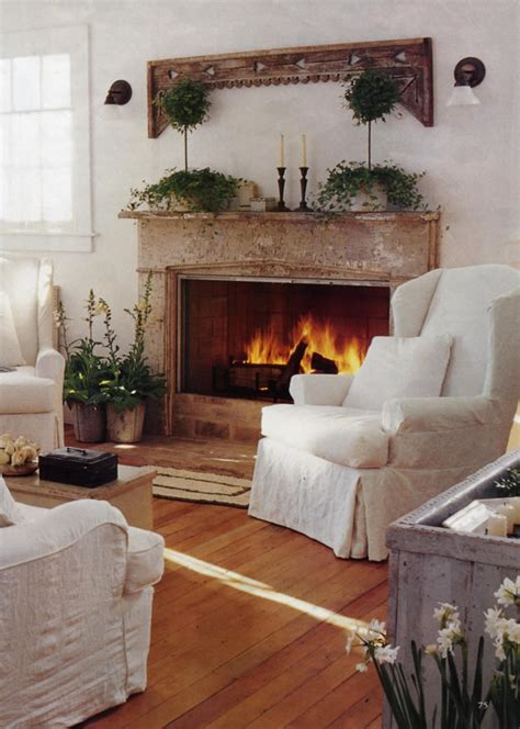 livingroom fireplace interior design cottage country shabby chic on