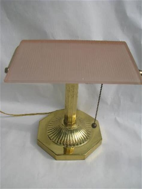 solid brass bankers l solid brass banker 39 s light desk l frosted pink glass shade