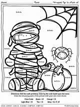 Halloween Math Number Addition Code Worksheet Worksheets Grade 4th Crack Breaker Worksheeto Via sketch template