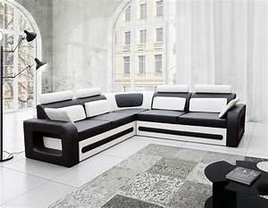 Canap d'angle convertible noir et blanc avec coffre AGLIBO
