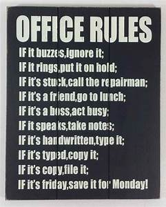 Wooden Wall Art - Office Rules Sign