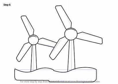 Draw Wind Drawing Energy Turbine Step Windmills