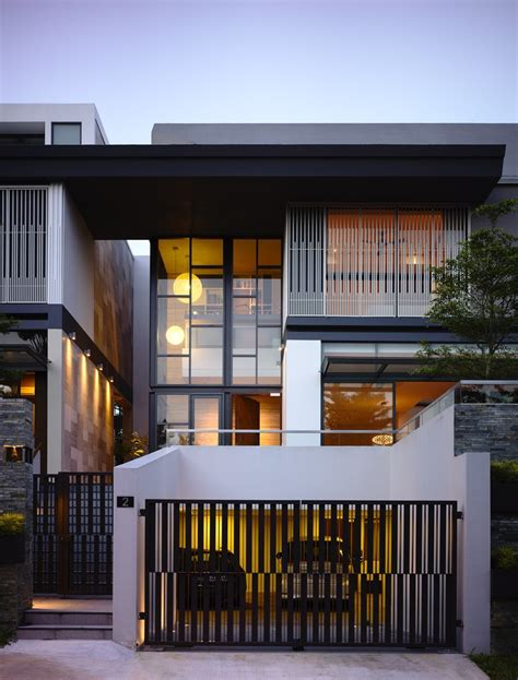 modern residential facades slatted facade house with sleek adjoined apartment