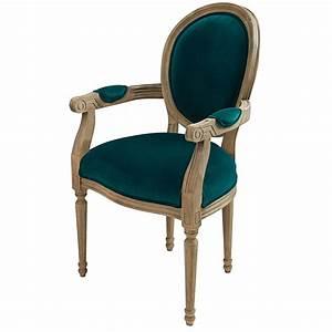 Meuble Bleu Canard : fauteuil cabriolet en velours bleu canard louis maisons du monde ~ Teatrodelosmanantiales.com Idées de Décoration