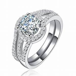 160 carat simulated diamond double band engagement ring With double band wedding rings