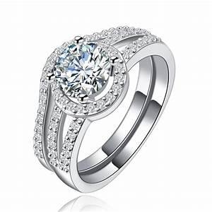 160 carat simulated diamond double band engagement ring for Double band diamond wedding ring