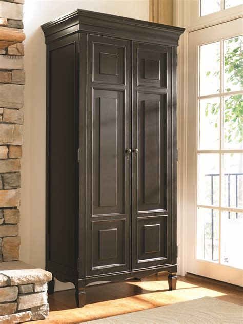 Tall Black Wood Stand Alone Storage Cabinet With Doors In