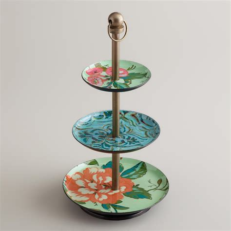 Blue Enameled Threetiered Jewelry Stand  World Market