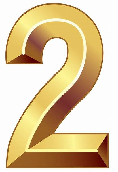 Numbers Number Gold Clipart Clip Transparent 2png